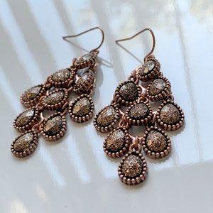Aldo Oxidized Copper Rose Gold Glitter Earrings